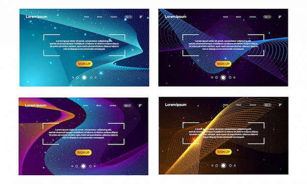 Bundle of landing page template with waves