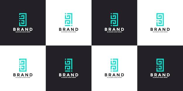 번들 문자 b 모노그램 로고 디자인