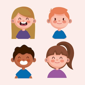 Bundle of little kids characters illustration design