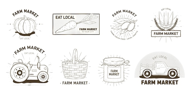 Bundle of logotypes for farm market, locally grown vegetables, organic products. set of logos or emblems hand drawn with contour lines on white background. monochrome realistic vector illustration.