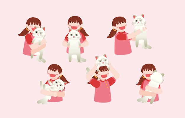 Bundle of  lovely girls and her cat,  set of portraits of adorable pet owner and cute domestic animal