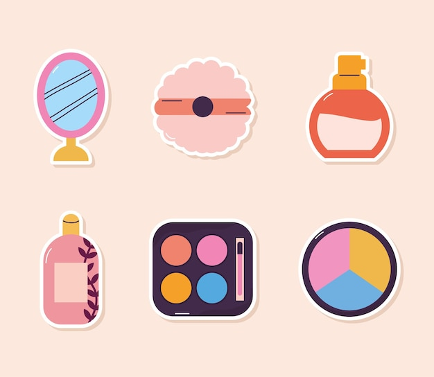 Bundle of makeup icons on a baige background