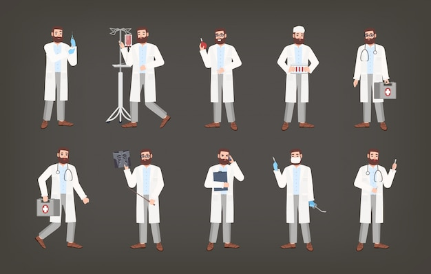 Bundle of male doctor, physician or surgeon standing in various poses. set of bearded man dressed in white coat holding medical equipment - syringe, douche, x-ray image, scalpel. illustration.