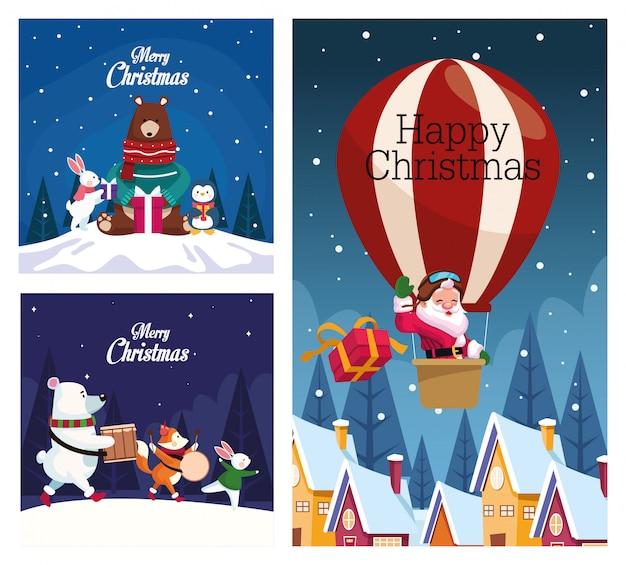 Bundle of merry christmas cards vector illustration design
