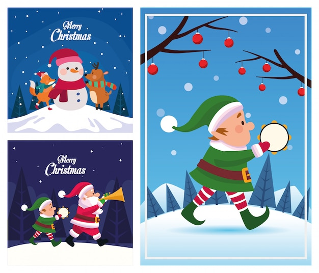 Bundle of merry christmas cards vector illustration design