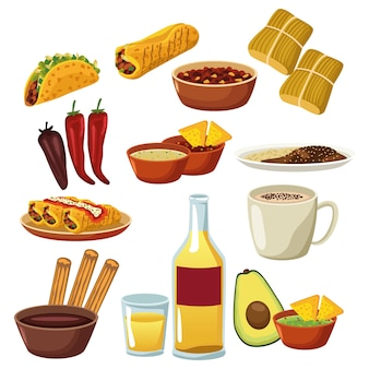 Bundle of mexican food menu set icons.