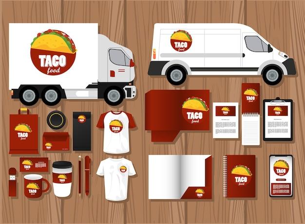 Bundle of mexican food mockup elements branding