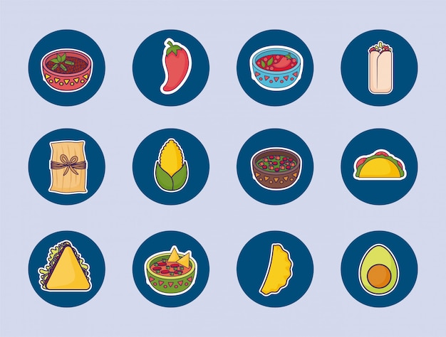 Bundle mexican food with set icons