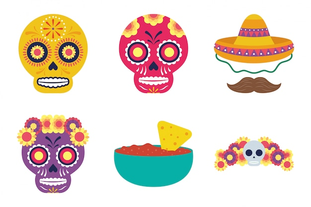 Bundle of mexican set icons