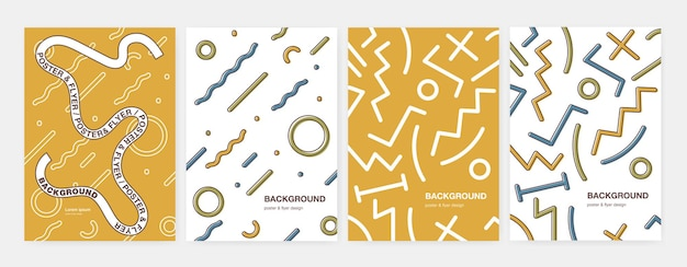 Bundle of modern vertical cover with abstract geometric shapes, curved and zigzag lines