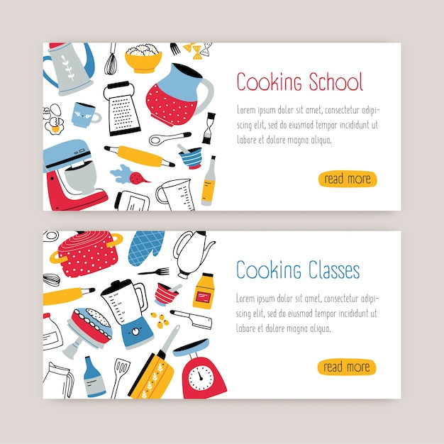 Bundle of modern web banner templates with kitchen utensils, tools and place for text