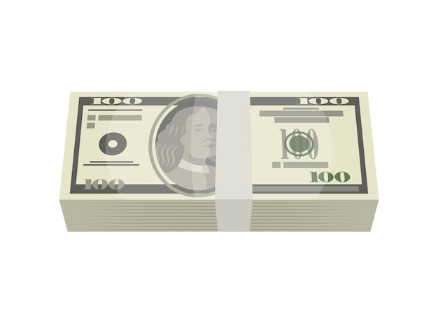 Bundle of money banknotes isolated isometric icon