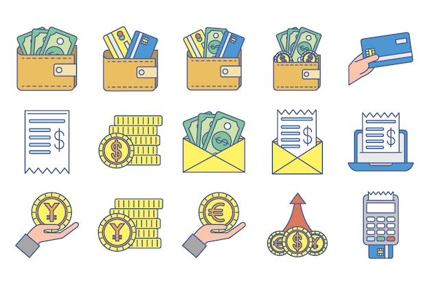 Bundle of money exchange icons