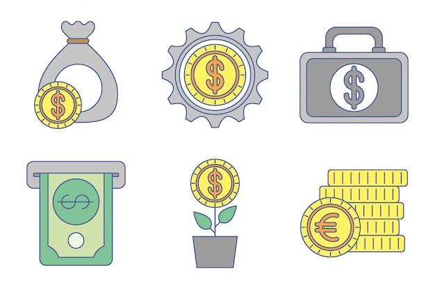Fascio di icone di scambio di denaro