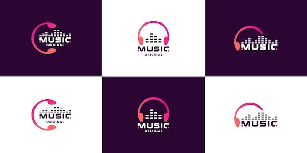 Bundle music, equalizer, head phone logo design for technology company and studio