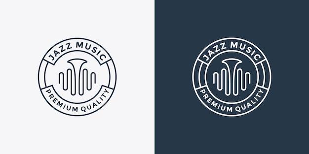 색소폰과 음악 웨이브 로고 디자인으로 음악 재즈를 묶음