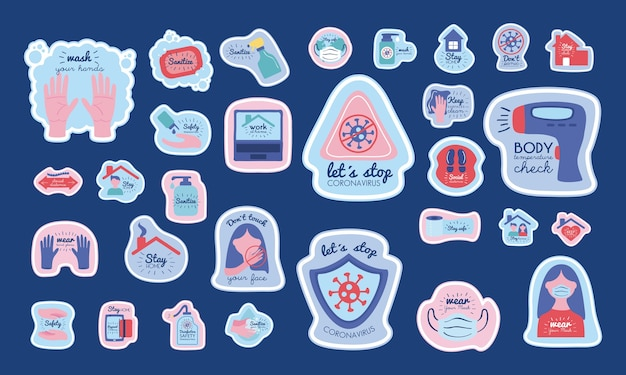 Bundle of new normality stickers with letterings