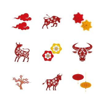Bundle of nine chinese new year  set icons  illustration