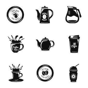 Bundle of nine coffee set icons  illustration design