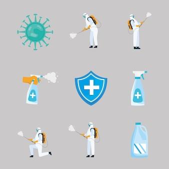 Bundle of nine disinfect illustration