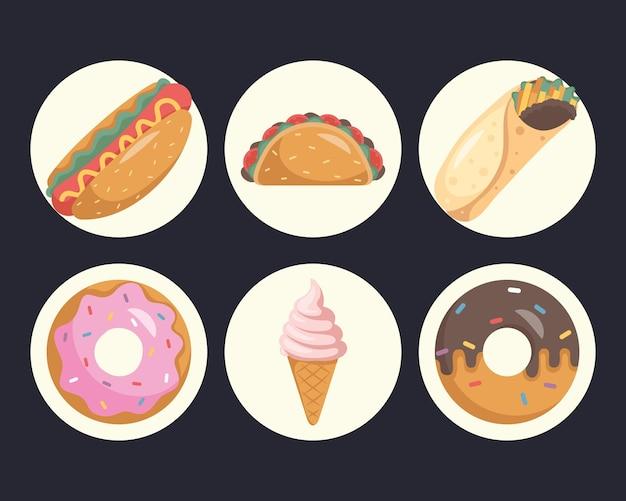 Bundle of nine fast food set icons