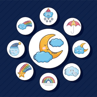 Bundle of nine kawaii weather characters around in blue illustration design