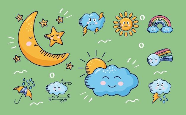 Bundle of nine kawaii weather comic characters in green illustration design