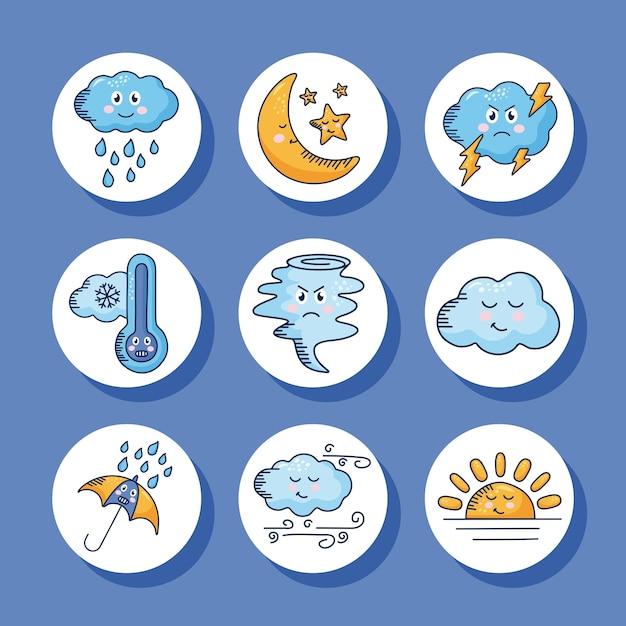 Bundle of nine kawaii weather comic characters illustration design