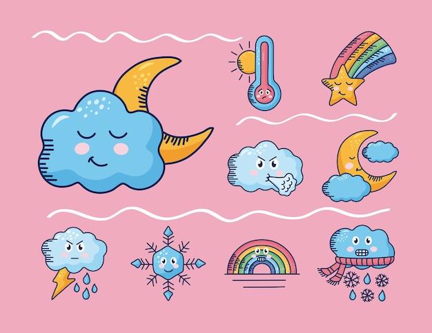 Bundle of nine kawaii weather comic characters in pink illustration design