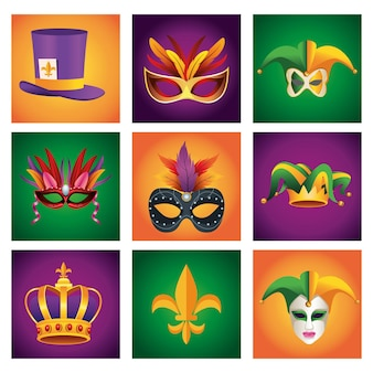 Bundle of nine mardi gras carnival celebration set icons  illustration