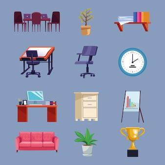 Bundle of nine office set icons  illustration