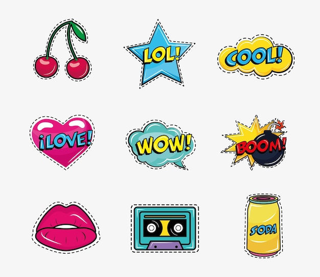 Bundle of nine pop art stickers set icons