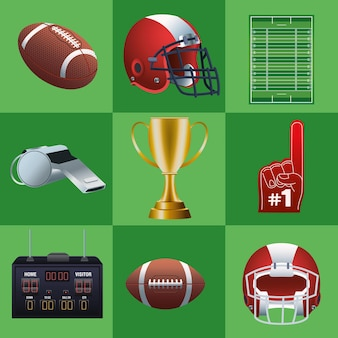 Bundle of nine super bowl set icons in green background  illustration