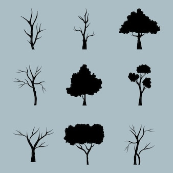 Bundle of nine trees forest silhouette style icons in blue background.