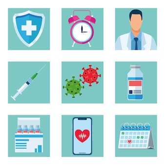 Bundle of nine  vaccine icons  illustration