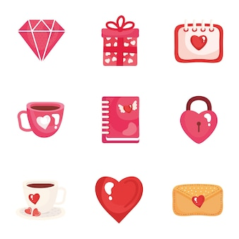 Bundle of nine valentines day set icons  illustration