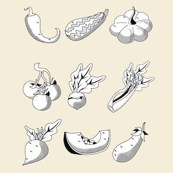 Bundle of nine vegetables set icons