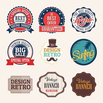 Bundle of nine vintage banners with frames retro style design