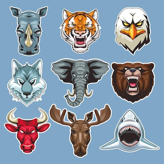 Bundle of nine wild animals heads characters in blue background  illustration
