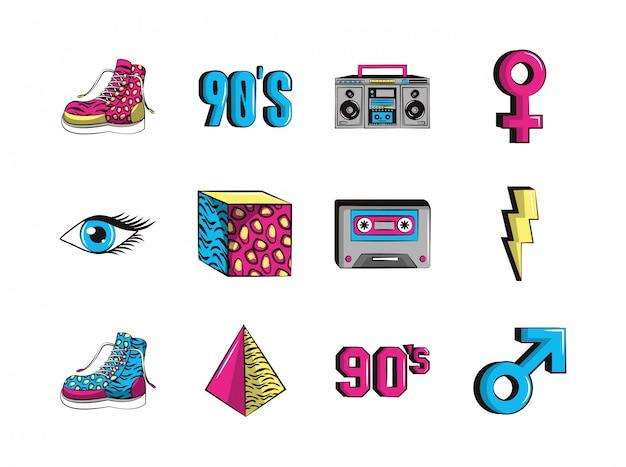 Bundle of nineties set icons
