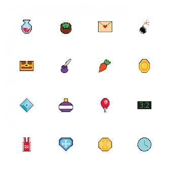 Набор из 8 битных иконок в стиле неровной