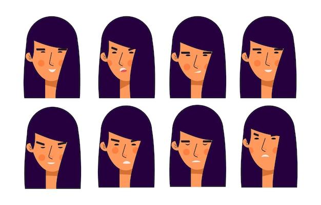 さまざまな表情のアジアの女性アバターキャラクターのバンドル。陽気な、幸せな人々のフラットベクトルイラストセット。女性の肖像画。愛らしい女の子のトレンディなパック。