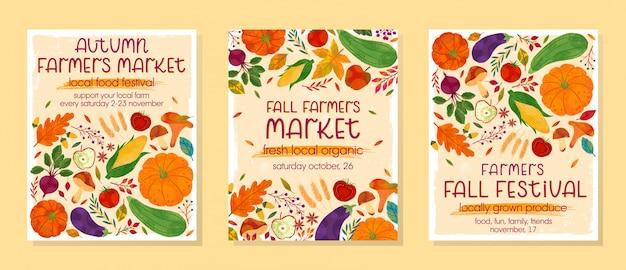 カボチャ、マッシュルーム、ナス、リンゴ、ズッキーニ、トマト、トウモロコシ、ビート、ベリー、花の要素と秋の農民市場バナーのバンドル。地元のフードフェストデザイン。