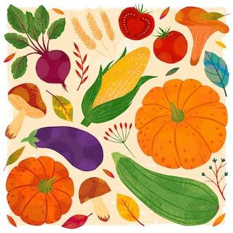 秋の野菜の束:カボチャ、キノコ、ナス、ズッキーニ、トマト、トウモロコシ、ビートルート。季節の農産物のコレクション。健康的な栄養。農業見本市。収穫シーズン。