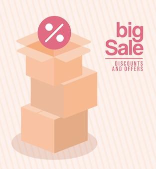 큰 판매 할인이 포함 된 상자 번들 및 일러스트레이션 디자인 제공