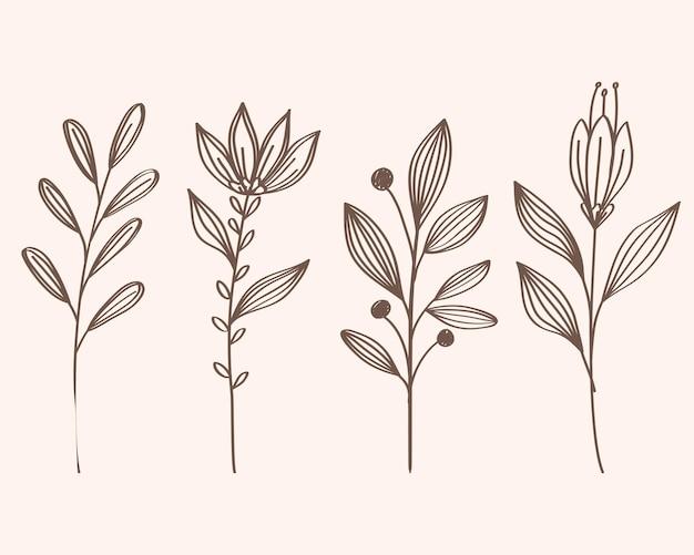 枝の葉植物の束手描きスタイルアイコンイラストデザイン