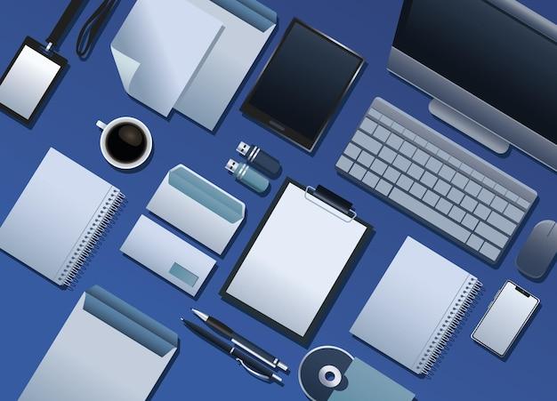 Связка шаблонов элементов брендинга на синем фоне иллюстрации