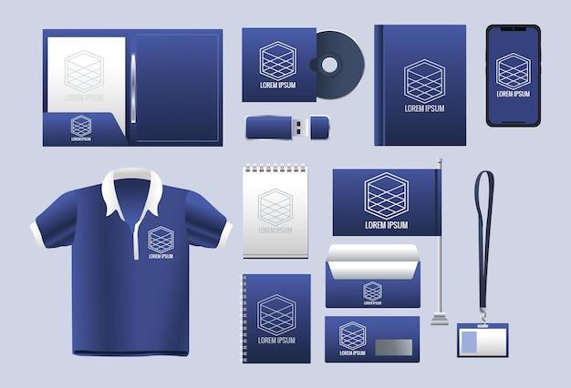 Связка брендинга набор иконок иллюстрации