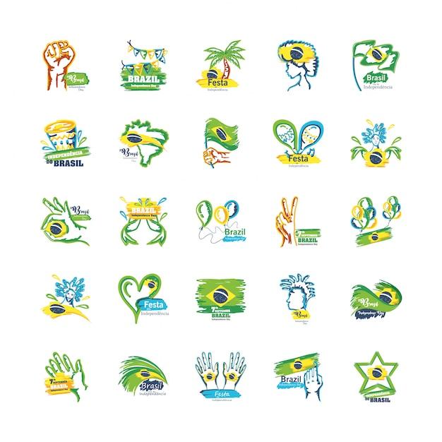 Набор эмблем дня независимости бразилии