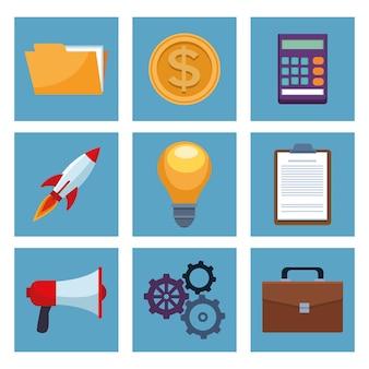 Пакет бизнес набор иконок иллюстрации